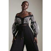 Karen Millen Cutwork Bardot Laced Front Woven Top -, Black
