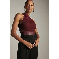 Karen Millen Pu Trim Halterneck Knitted Top -, Red