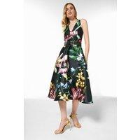 Botanical Structured Belted Woven Halter Dress