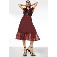 Karen Millen Broderie And Ruffle Detail Woven Maxi Dress -, Red