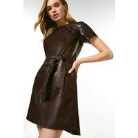 Karen Millen Leather Ruched Neck Tie Mini Dress -, Red