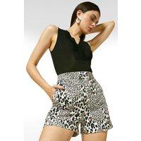 Karen Millen Animal Printed Cotton Sateen Shorts, Multi