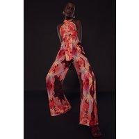 Karen Millen Soon Twist Halter Belted Woven Jumpsuit -, Red