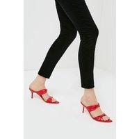 Karen Millen Twist Detail Premium Leather Mule -, Red