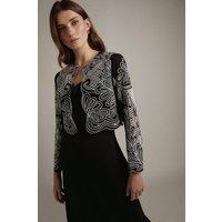 Karen Millen Cutwork Detail Woven Jacket -, Black