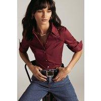 Karen Millen Cotton Poplin Slim Stud Collar Woven Shirt -, Red