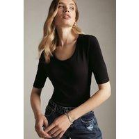 Karen Millen Organic Cotton Scoop Jersey Half Sleeve Top -, Black