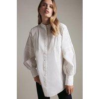 Karen Millen Pintuck Embroidered Woven Tunic -, White