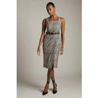 Karen Millen Tailored Check Button Detail Pencil Dress, Multi