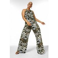 Karen Millen Curve Print Wide Leg Woven Jumpsuit -, Leopard