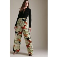 Karen Millen Stallion Print Wide Leg Woven Trouser -, Sage
