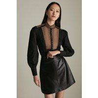 Karen Millen Poplin Tape Embroidery Woven Shirt -, Black