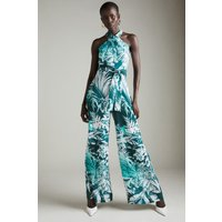 Karen Millen Tiger Print Belted Cross Halter Woven Jumpsuit -, Blue