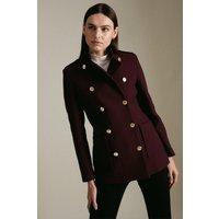 Karen Millen Italian Virgin Wool Military Short Coat -, Red