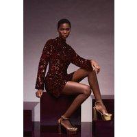 Karen Millen Velvet Sequin Woven Stretch Open Back Dress -, Red
