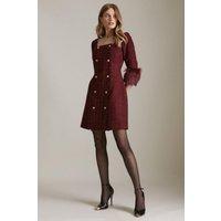 Karen Millen Sparkle Tweed And Faux Fur Cuff Db Mini Dress -, Red
