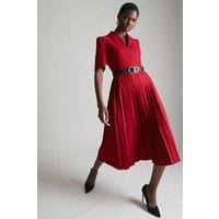 Karen Millen StructuCrepe Forever Pleated Midi Dress -, Red
