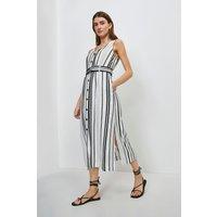 Karen Millen Stripe Linen Viscose Button Through Dress -, White