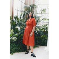 Karen Millen Curve Linen Viscose Shirt Dress -, Red