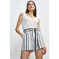 Karen Millen Stripe Linen Viscose Short -, White