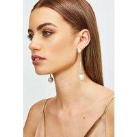 Karen Millen Plated Diamante Pearl Drop Earrings -, Gold