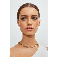 Karen Millen And Silver Plated Diamante Detail Chain -, Gold