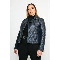 Karen Millen Curve Leather Quilted And Knit Panel Biker Jacket -, Navy