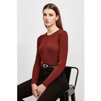Karen Millen Long Sleeve Knitted Rib Top -, Orange