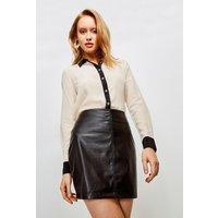 Karen Millen Faux Leather Seam Mini Skirt -, Black