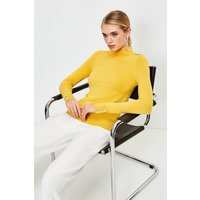 Karen Millen Silver Popper roll/polo neck Jumper -, Yellow