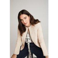 Karen Millen Curve Leather Quilted Jacket -, Cream