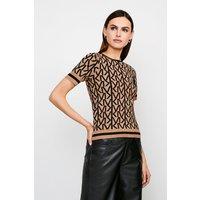 Karen Millen KM Logo Knitted Short Sleeve Top -, Camel
