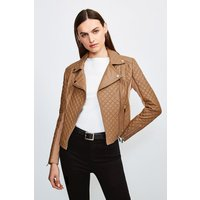 Karen Millen Leather Quilted And Knit Panel Biker Jacket -, Camel