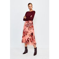Karen Millen Floral Print Midi Pleated Skirt, Navy