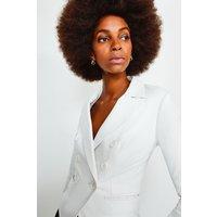 Karen Millen Leather Blazer, White