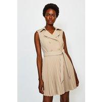 Karen Millen Military Pleated Skirt Dress, Beige