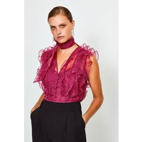 Karen Millen Tie Neck Ruffle Organza Top -, Red