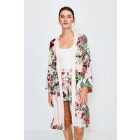 Karen Millen Floral Nightwear Kimono, Navy