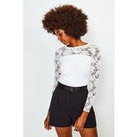 Karen Millen Lace Long Sleeve Jersey Top, Ivory