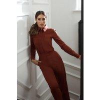 Karen Millen Polished Stretch Wool Blend TapeTrouser -, Red