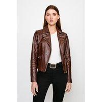 Karen Millen Classic Leather Biker Jacket -, Brown