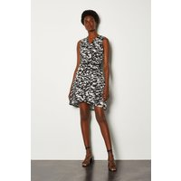 Karen Millen Animal Print Sleeveless Wrap Short Dress, Black