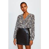 Karen Millen Animal Print Long Sleeved Wrap Body, Black
