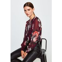 Karen Millen Rose Print Pintuck Blouse, Orange
