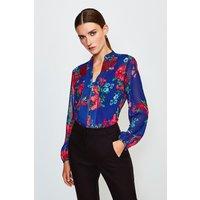 Karen Millen Floral Print Blouse, Blue
