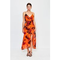 Karen Millen Frill Print Maxi Dress, Orange