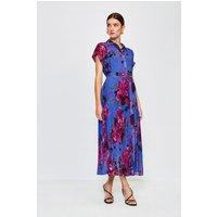 Karen Millen Print Drama Shirt Maxi Dress, Blue