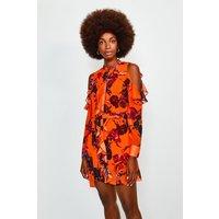 Karen Millen Floral Cold Shoulder Frill Dress, Orange