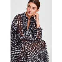 Karen Millen Printed Pintuck Midi Dress, Black