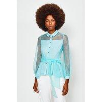 Karen Millen Organza Tie Waist Sleeved Blouse, Green
